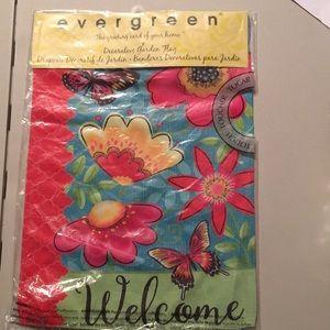 Evergreen Spring WELCOME garden flag suede fabric